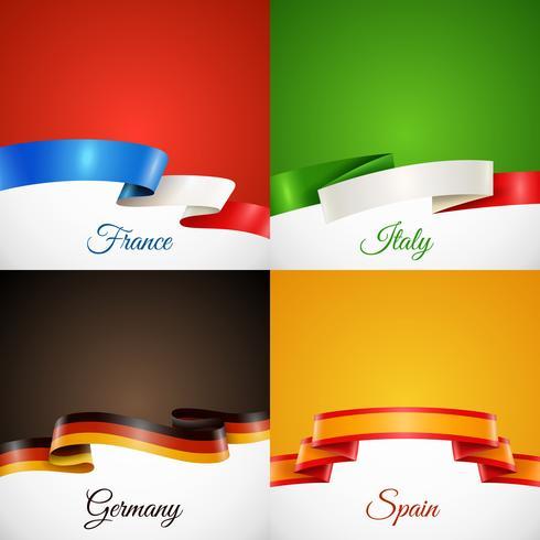 Flag Design Farbband Konzept Icons Set vektor