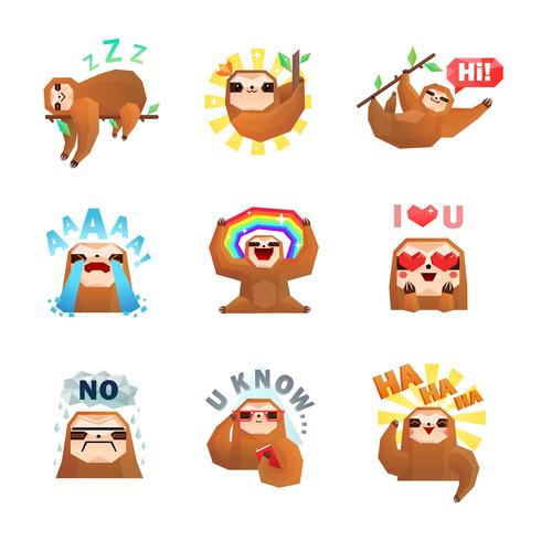 Sloth Emoticon Aufkleber Set vektor