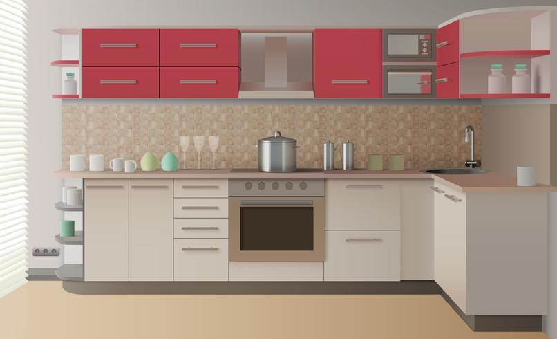 Realistische Küche Interieur vektor