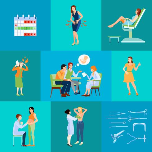 Frauenarzt Flache Zusammensetzung vektor