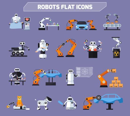 Roboter-Icons Set vektor
