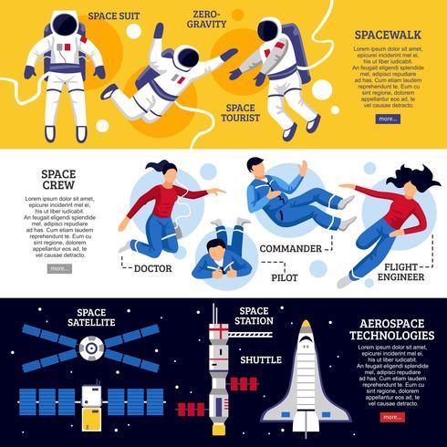 Astronauter Horisontella Banderoller vektor