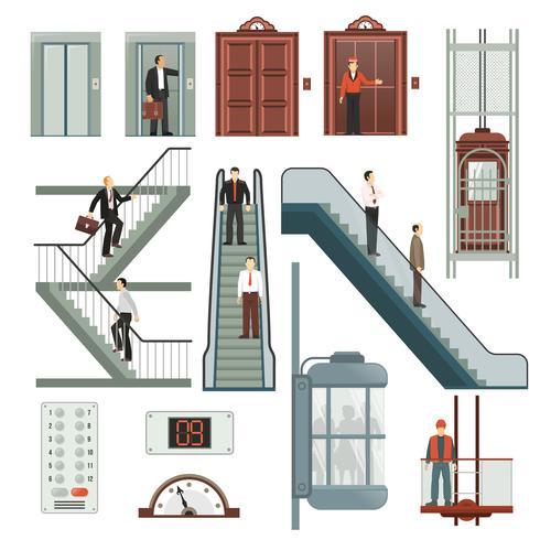 Aufzug und Treppe eingestellt vektor