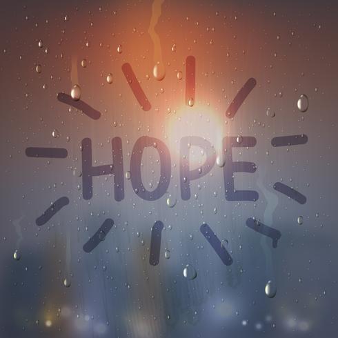 Hoffnungs-Wort auf beschlagener Glaszusammensetzung vektor