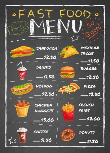 Schnellrestaurant-Menü auf Tafel vektor