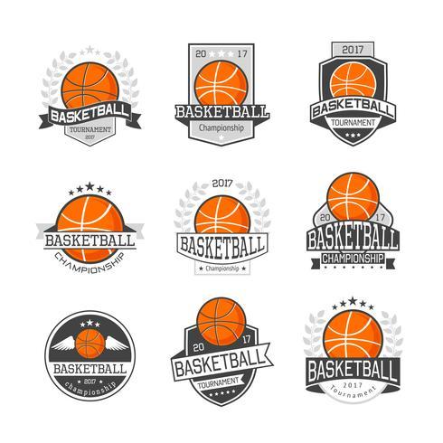 Basketkonkurrenser Emblem Set vektor