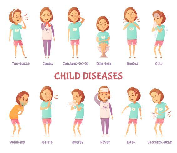 Symptome von infantilen Krankheiten vektor