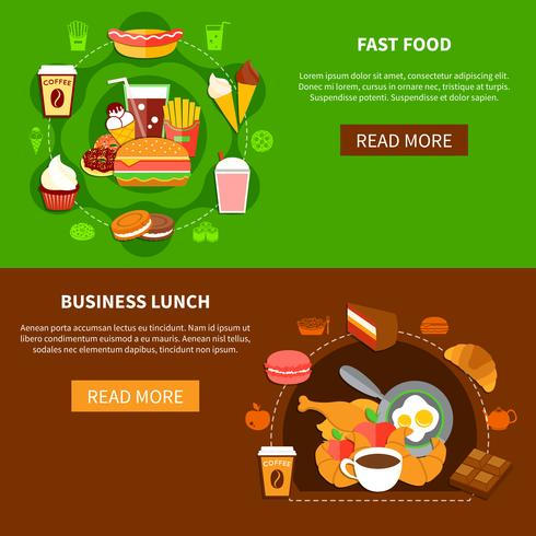 Fast Food Business Lunch Flat Banner vektor