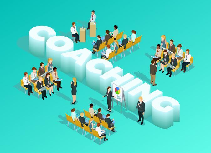 företagsutbildning isometrisk mall vektor