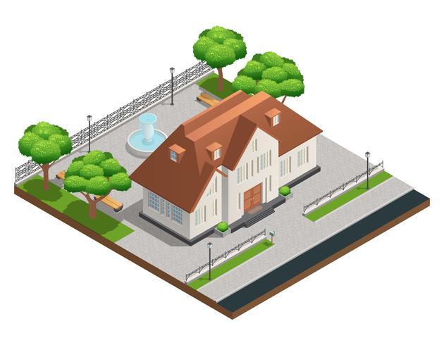 förort hus isometrisk komposition vektor
