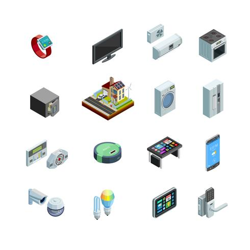 Smart Isometric Icons Collection för Smart Home Elements vektor