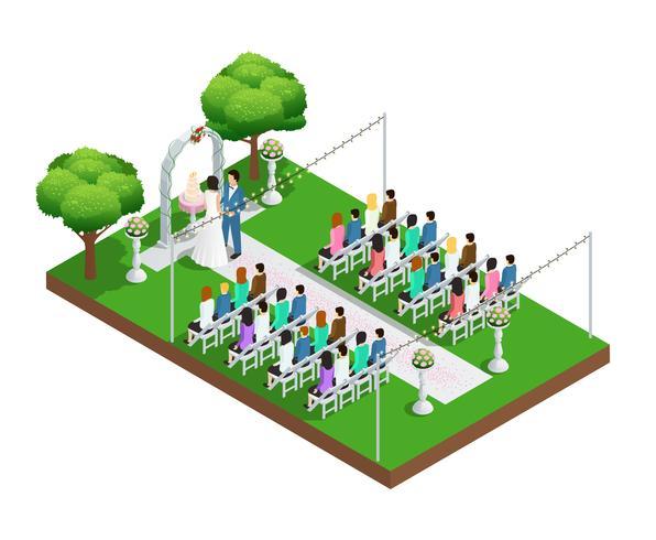 Isometrische Zusammensetzung der Hochzeitszeremonie vektor