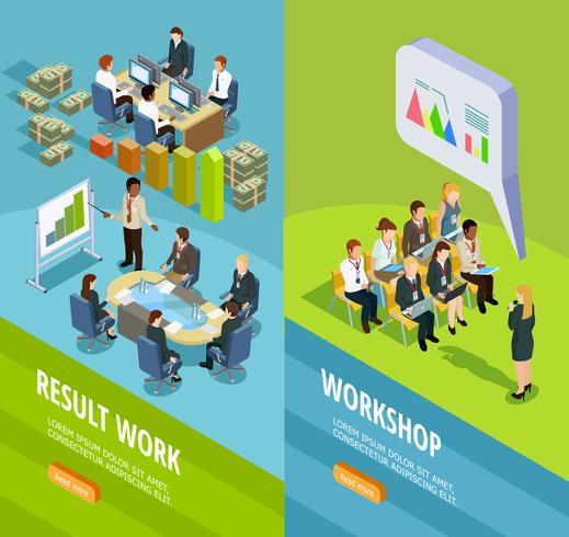 Business learning isometric vertikala banners vektor