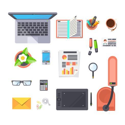 Ställ in kontors arbetsplatsobjekt vektor