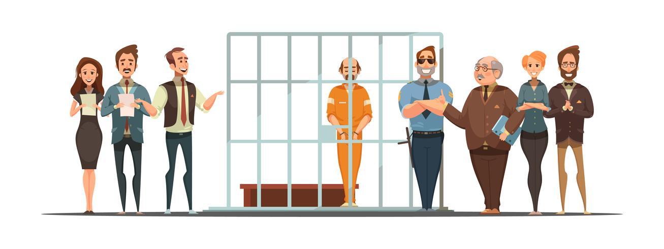 Gesetzesgerechtigkeitssatz Retro Karikatur-POster vektor