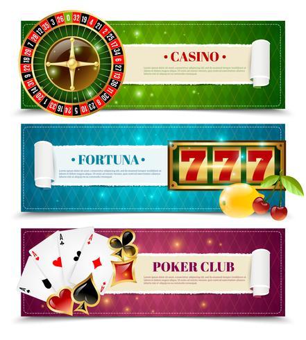 Casino 3 Horisontell Banners Set vektor