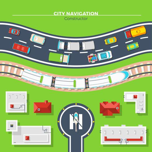 Stadtnavigation Draufsicht vektor