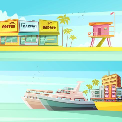 Miami Beach Horisontella Banderoller vektor
