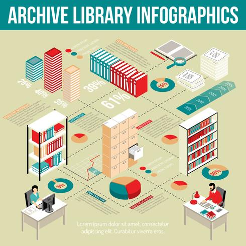 Archiv-Bibliothek isometrisches Infographik-Flussdiagramm-Plakat vektor