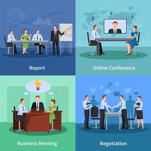 Konferenzkonzept Icons Set vektor