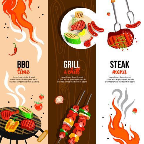 Barbecue Party 3 Vertikale Banner Set vektor