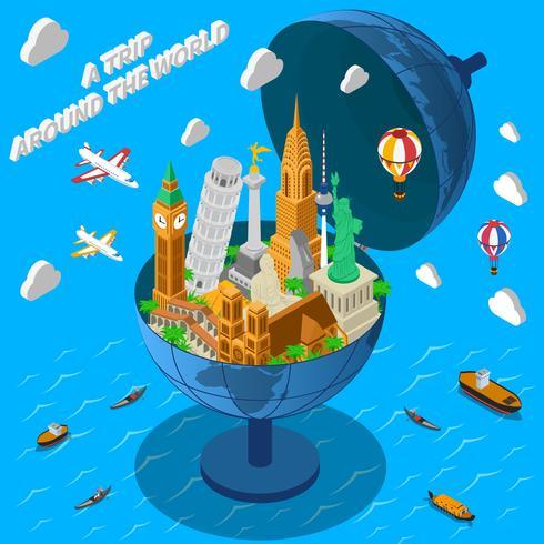 Världen landmärken i Globe isometrisk affisch vektor