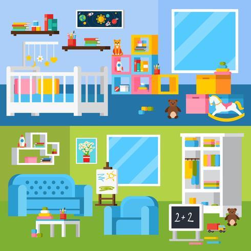 Kinderzimmer-Raum-Karikatur-horizontale Fahnen vektor