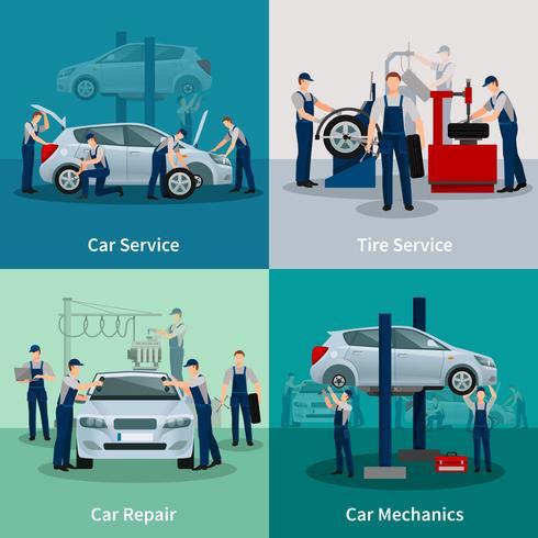 Car Service 2x2 Kompositionen vektor