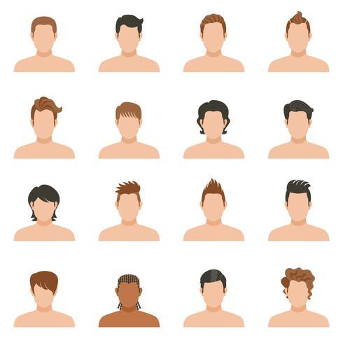 Ställ ikoner av frisyrman vektor