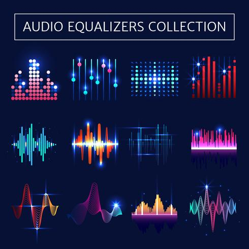 Audio Equalizer Neon Set vektor