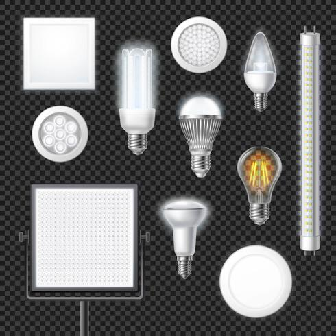 LED-Lampen realistisch transparent gesetzt vektor