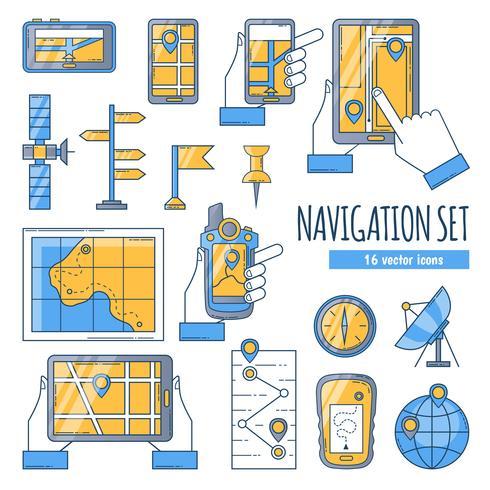 Flache Farbikonen der Navigation eingestellt vektor