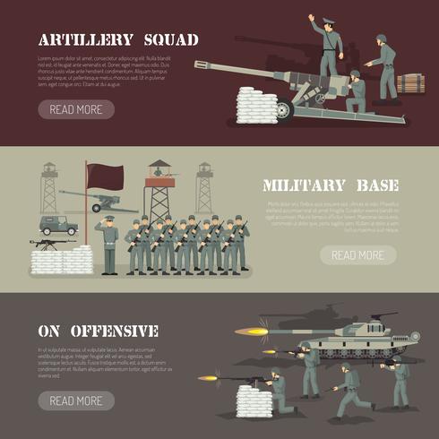 Militär armén Horisontell Banners Set vektor