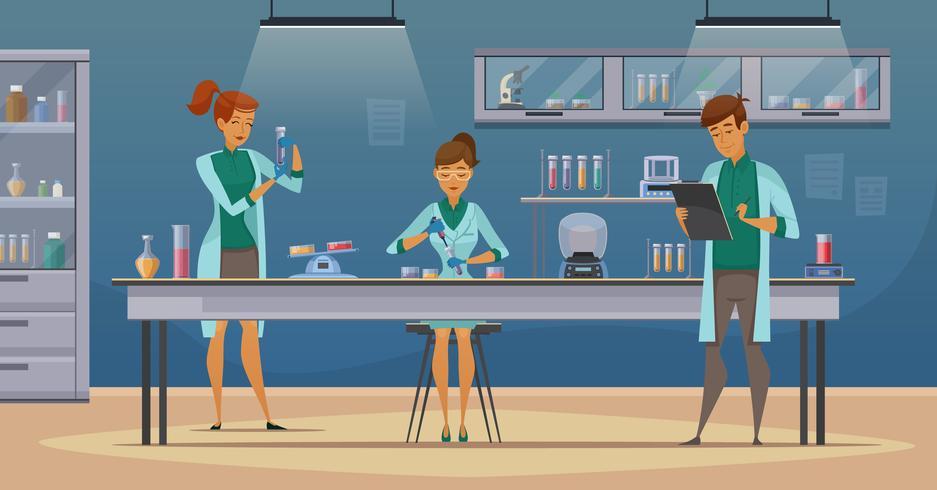 Wissenschaftler im Labor Retro Cartoon Poster vektor