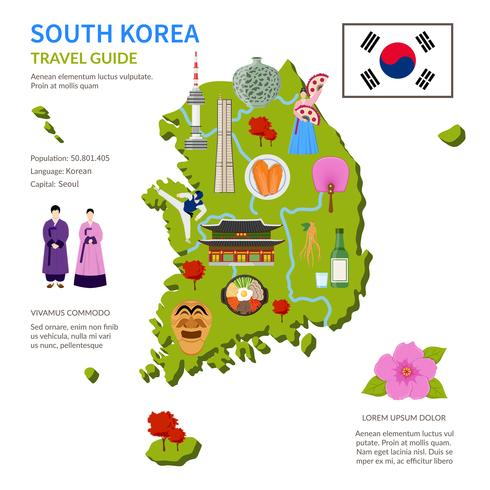 Sydkorea Reseguide Infographic Poster vektor
