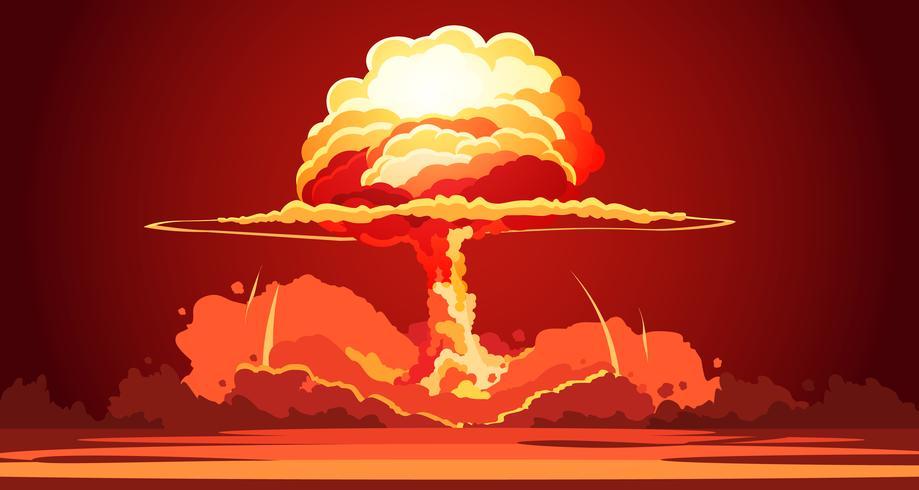 Kernexplosions-Pilz-Wolken-Retro- Plakat vektor