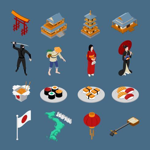 Japanisches isometrisches touristisches Set vektor