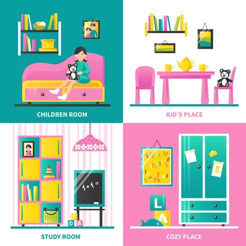 Konzept-Konzept der Baby-Raum-Möbel-2x2 vektor