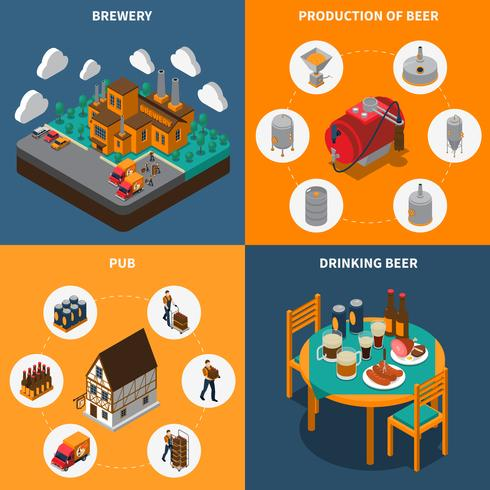Brewery Concept Icons Set vektor