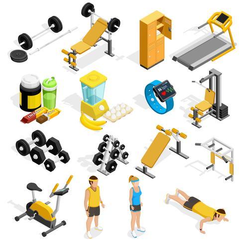 Fitnessstudio und Fitness isometrische Icons Set vektor