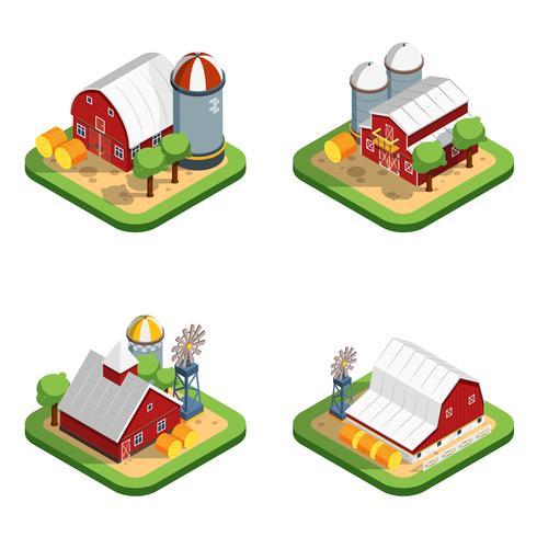 Isometrische isolierte Kompositionen auf dem Bauernhof vektor