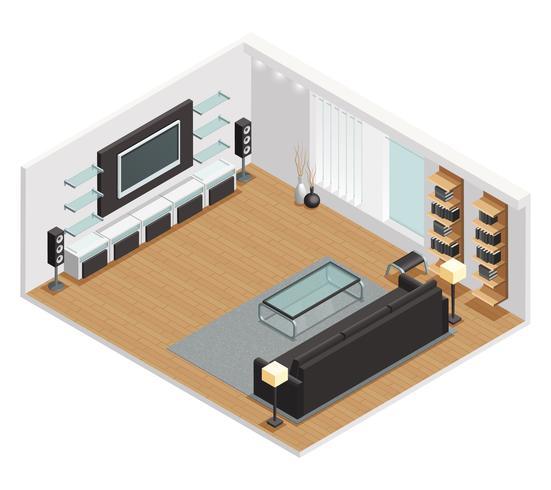 Wohnzimmer-isometrisches Ansicht-Plakat vektor