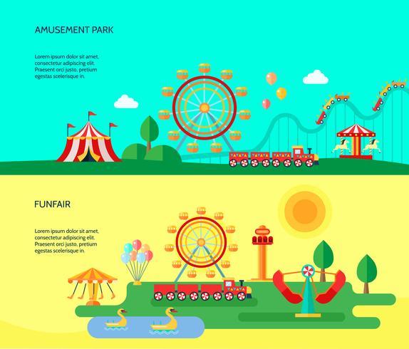 Nöjespark 2 Plana Horisontella Banderoller vektor