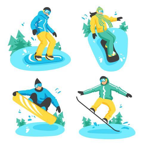 Människor På Snowboard Design Kompositioner vektor