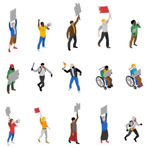 Protestdemonstrations-Leute-isometrische Ikonen eingestellt vektor