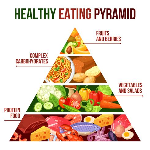 Hälsosam kostpyramidaffisch vektor