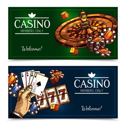 Sketch Casino Horisontella Banderoller vektor