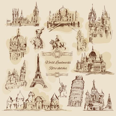 Världslandskap Sketch Vintage Icons Set vektor