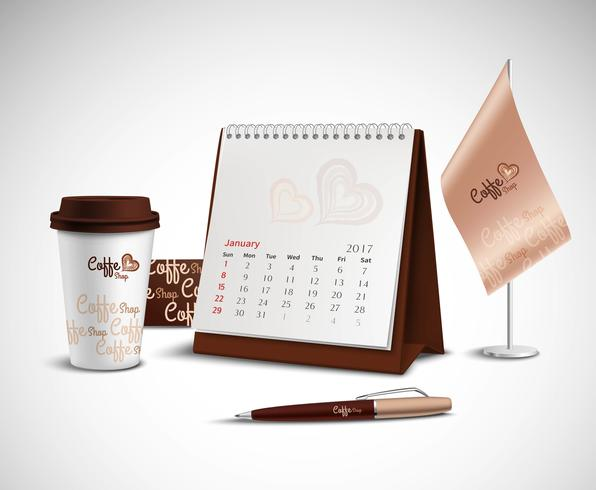 Kalender Corporate Identity Mockup Set vektor