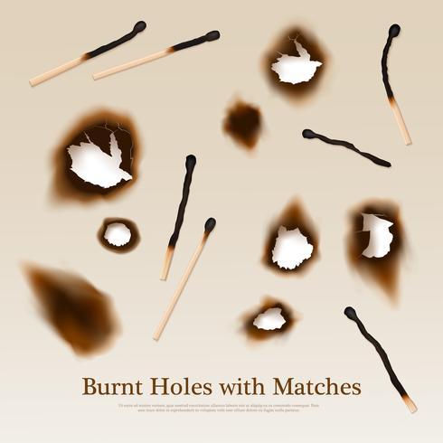 Papier mit gebrannten Löchern und Übereinstimmungen vektor
